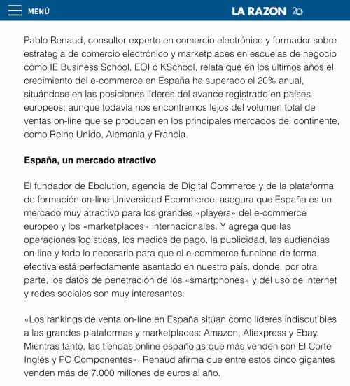 Artículo de Pablo Renaud sobre ecommerce en La Razón - texto