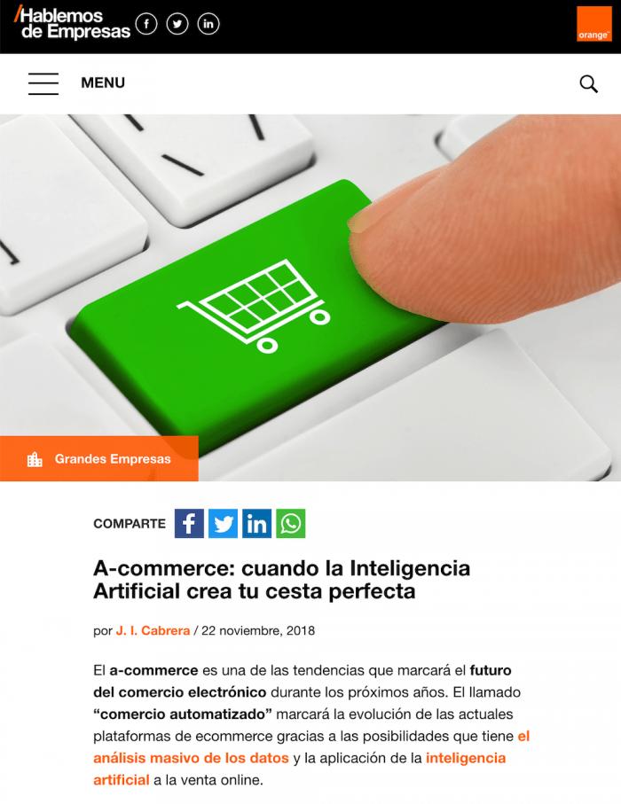 Artículo sobre a-commerce de Pablo Renaud en el blog de Orange Hablemos de Empresas