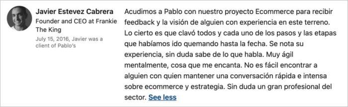 Reseña de Pablo Renaud consultoría ecommerce y marketplaces