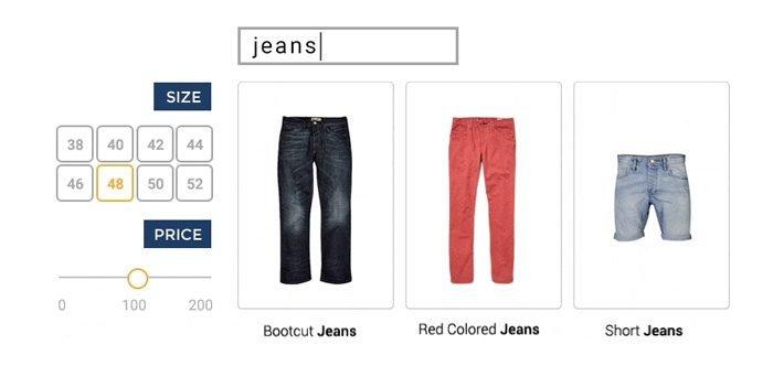 Buscador que discrimina tallas y colores en ecommerce