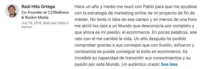 Testimonio de Raúl Hita sobre Pablo Renaud, consultor ecommerce